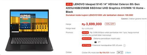 Diskon 15% Lenovo IdeaPad S145 Celeron N4205U